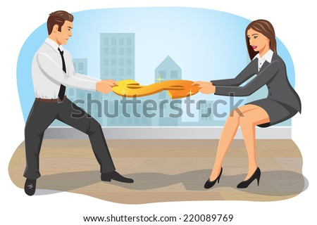 Businessman and businesswoman compete and pull a dollar sign. Both are greedy and do not concede. - stock vector