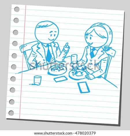 Businessman and businesswoman having business lunch