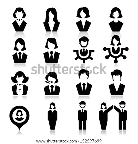 Businessman and businesswoman Icons - stock vector