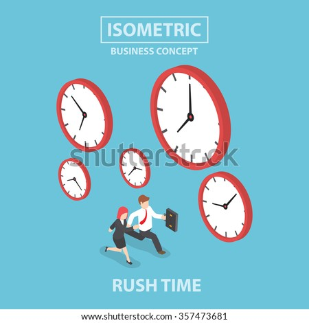 Businessman and businesswoman in rush hour, Busy concept, Flat 3d web isometric design, VECTOR, EPS10 - stock vector