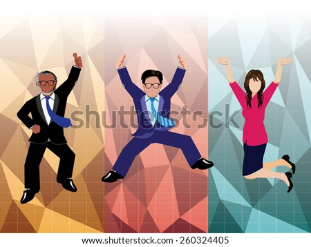 Businessman and businesswoman jumping with polygon background