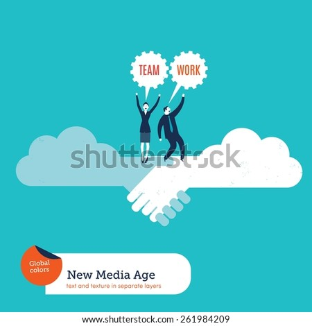 Businessman and businesswoman on a cloud handshake teamwork. Vector illustration Eps10 file. Global colors. Text and Texture in separate layers. - stock vector