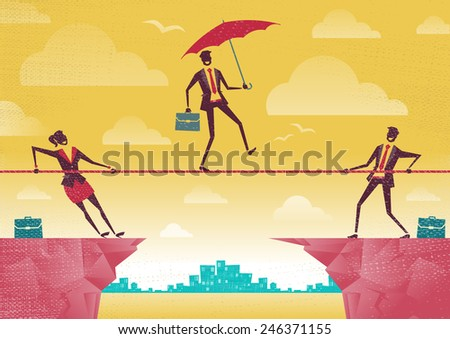 Businessman and Businesswoman use Teamwork on Clifftop. Great illustration of Retro styled Business People working as a team to assist their colleague through a difficult situation.   - stock vector