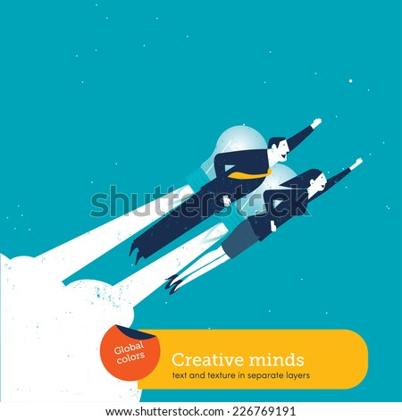 Businessman and businesswoman with a bulb rocket. Vector illustration Eps10 file. Global colors. Text and Texture in separate layers. - stock vector
