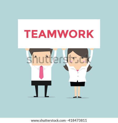 Businessman and Businesswoman with a white placard. Communication, assistance, partnership, cooperation, collaboration and teamwork in business vector concept - stock vector