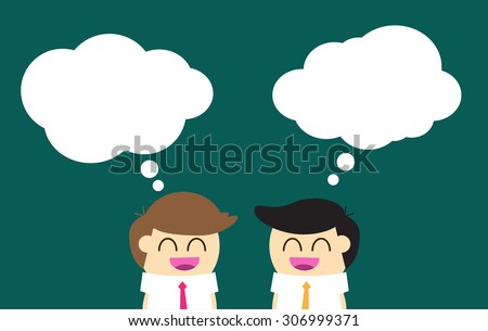 Businessman and businesswoman with dialog speech bubbles. vector. dark blue background