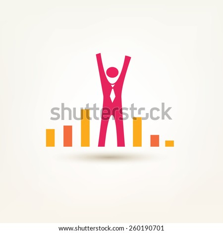 businessman and chart flat symbol. success and win concept, growth and leader simple icon - stock vector