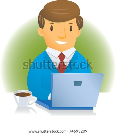 businessman and computer - stock vector