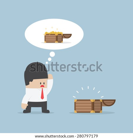 Businessman and empty treasure box, VECTOR, EPS10 - stock vector