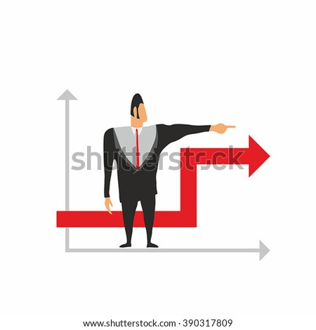 Businessman and graph. Simple vector.