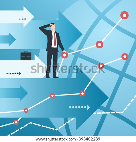 Businessman and graphs with growing financial indicators. Business concept of success, ambitions, searching, economic, growth, development, strategy, development, opportunities. - stock vector