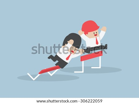 Businessman and his rival in hurdle race, VECTOR, EPS10 - stock vector