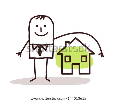 businessman and house insurance - stock vector