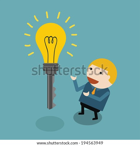 businessman and key lamp idea concept