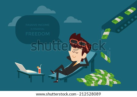businessman and passive income flat design - stock vector