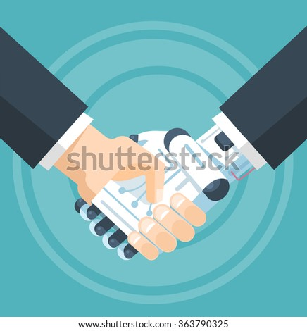 Businessman and robot handshake. Vector flat illustration - stock vector