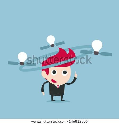 businessman and satellite bulb idea, vector - stock vector