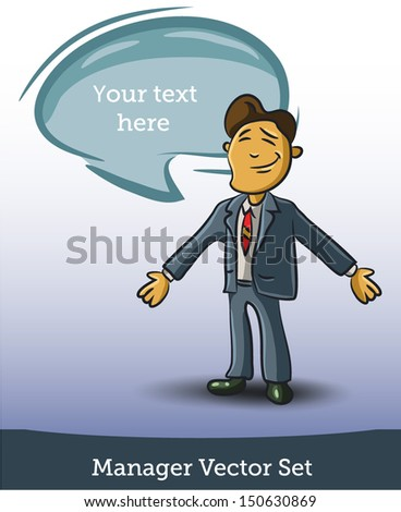 Businessman and speech bubble - stock vector
