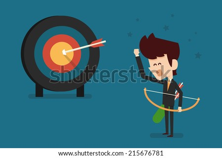 businessman and success target flat design, vector. - stock vector