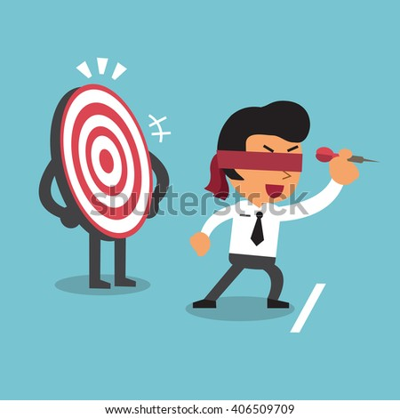 Businessman and target - stock vector