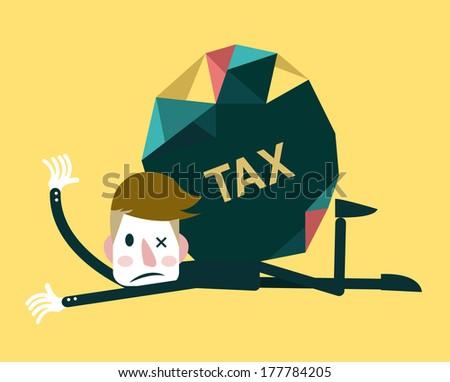 Businessman and TAX burden.Business concept. Vector - stock vector