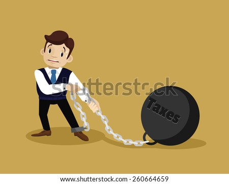 Businessman and tax. Vector flat illustration - stock vector