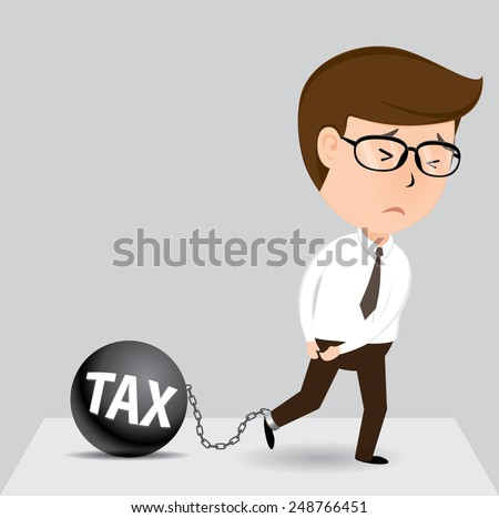 Businessman and tax, Vector illustration - stock vector