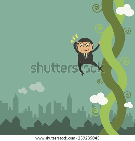 Businessman and the bean stalk  - stock vector