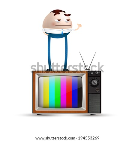 businessman and tv - stock vector