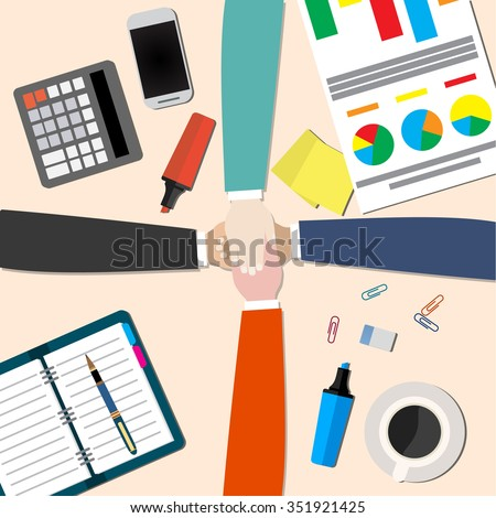businessman and woman join hands by touching top of each other sitting at the office table. Top view. Vector flat design for business web infographic concept.  - stock vector