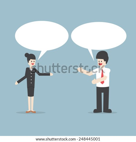 Businessman and woman talking with Speech Bubbles, VECTOR, EPS10