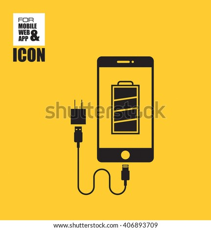 Businessman application for a job icon-Smart phone and Power Usb icon - stock vector