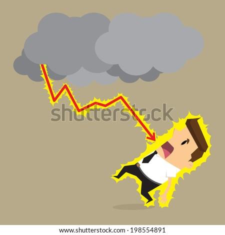 businessman arrow  lightning - stock vector
