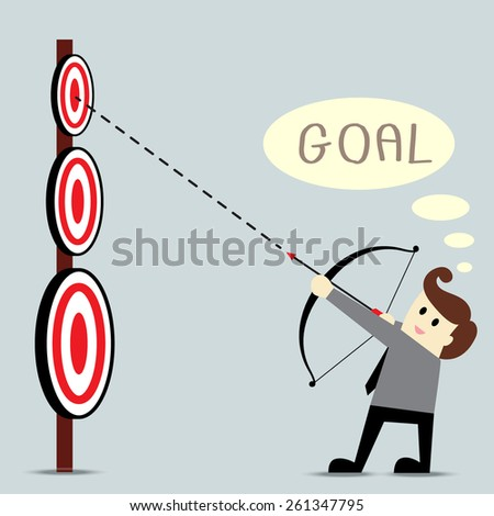 Businessman as an archer is aiming at the target - stock vector