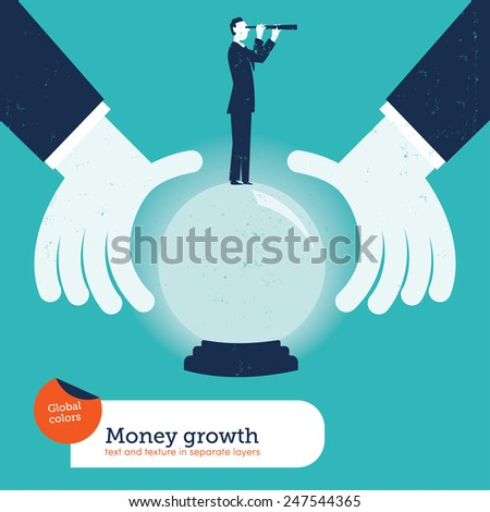 Businessman asking a crystal ball with a businessman and spyglass. Vector illustration Eps10 file. Global colors. Text and Texture in separate layers. - stock vector