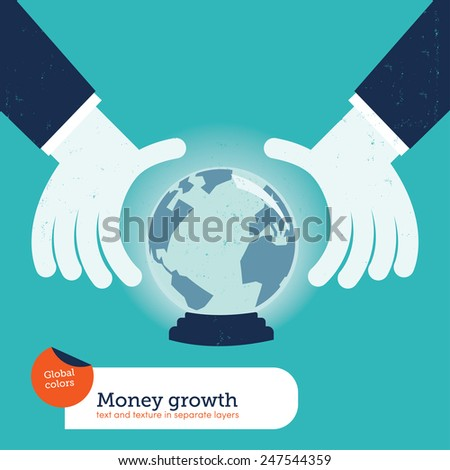 Businessman asking a crystal ball with the world. Vector illustration Eps10 file. Global colors. Text and Texture in separate layers. - stock vector