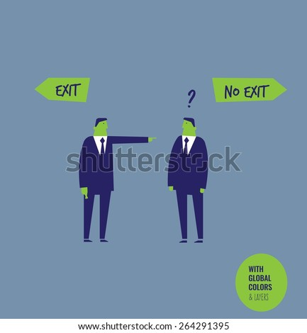 Businessman asking the right direction businessman giving him wrong directions. Vector illustration Eps10 file. Global colors&layers. - stock vector