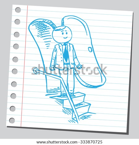 Businessman at airplane stairs - stock vector