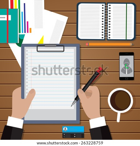 Businessman at desk in office, holding a piece of paper and a pen. - stock vector