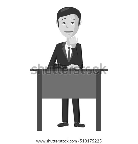 Businessman at table icon. Gray monochrome illustration of businessman at table vector icon for web
