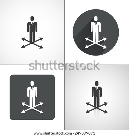Businessman at the crossroads icons. Set elements for design. Vector illustration - stock vector
