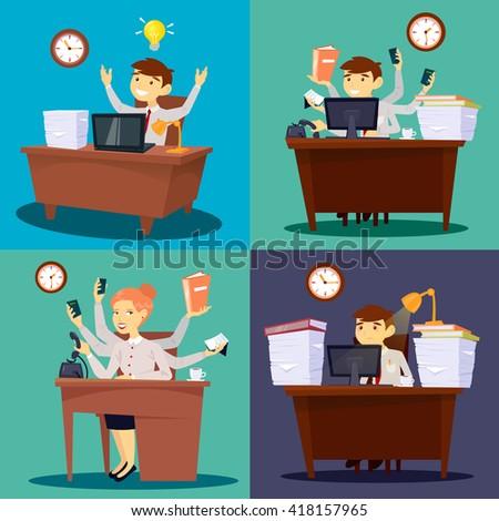 Businessman at Work. Businesswoman in Office. Multitasking Worker. Office Life. Vector illustration - stock vector