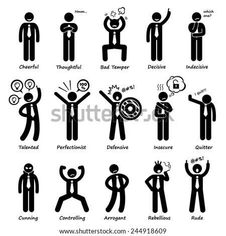 Businessman Attitude Personalities Characters Stick Figure Pictogram Icons - stock vector