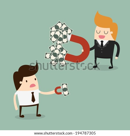 Businessman attracts money with a large magnet - stock vector