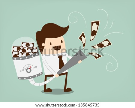Businessman attracts money with a large Vacuum cleaner - stock vector