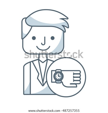 businessman avatar with business icon vector illustration design