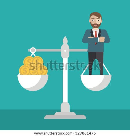 Businessman balance on scale with money. vector illustration - stock vector