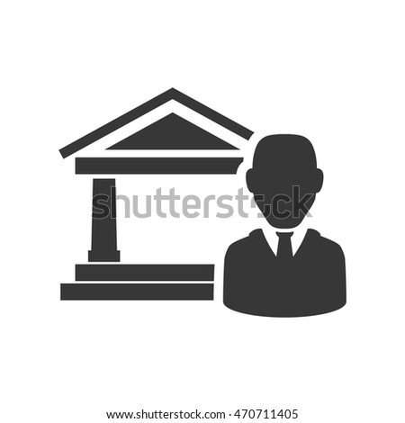 businessman bank silhouette necktie icon. Flat and Isolated design. Vector illustration