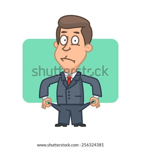 Businessman bankrupt shows everted pockets - stock vector
