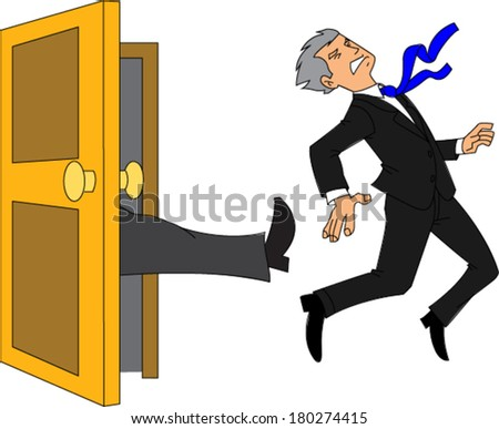 Businessman being kicked out of the door - stock vector